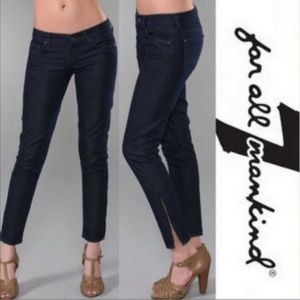 31 7FAM Gwenevere Skinny Blue Jeans Zipper Ankles